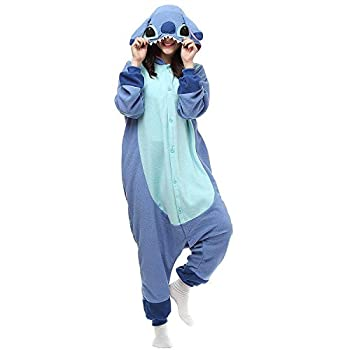 Unisex-Adult Animal Onesies Pajamas Halloween Costume Cosplay Funny Christmas Party Wear Daily Carton Outfit Blue S