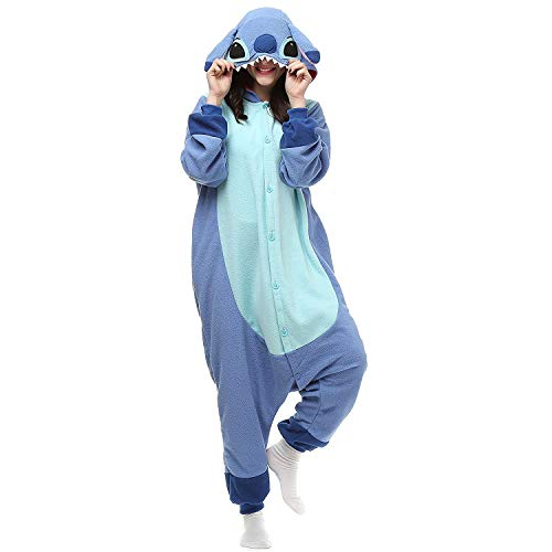 Unisex-Adult Animal Onesies Pajamas Halloween Costume Cosplay Funny Christmas Party Wear Daily Carton Outfit Blue XL
