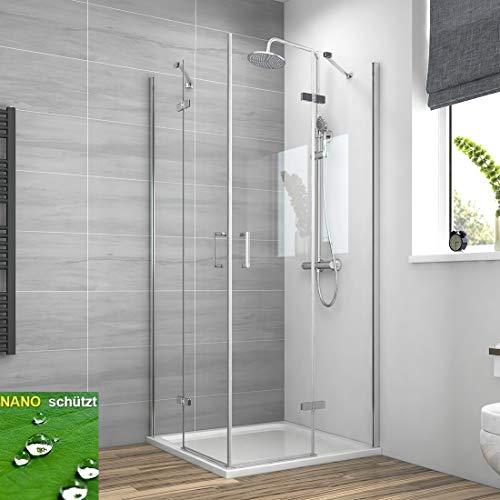 EMKE Duschkabine 90x90cm Duschabtrennung Eckeinstieg, Duschwand Glas Duschtür Eckdusche drehbarer Schwingtür aus 6mm ESG-Sicherheitsglas mit Nano-Beschichtung, Höhe 195cm ohne Duschtasse