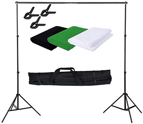 LARS360 Profi Fotostudio Set Hintergrundsystem Hintergrund mit 1.8 x 2.8m Hintergrundstoff (Weiß Grün Schwarz) und 2.6m x 3m Hintergrund Ständer Studioset für Fotografie Portrait
