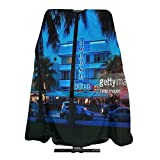 Ocean Drive At Night South Beach Miami Florida Barber Cape For Adults Women Men Hair Cutting Apron Cloth Water Resistant Hairdressing Capes Hair Styling Barbers Haircut Aprons 55x66 In