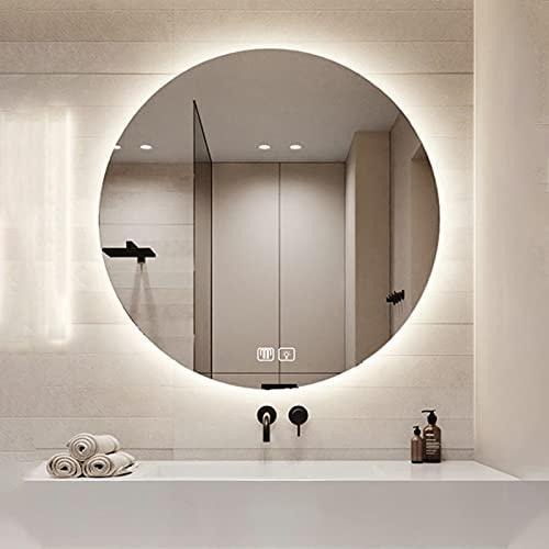 Espejo De Baño LED Redondo Iluminado, Luz LED Antiniebla, Espejo De Tocador De Maquillaje Inteligente para Baño, Interruptor Táctil, Clasificación IP44