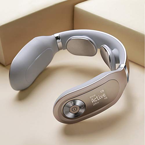 SKG Smart Neck Massager with Voice Broadcast & LED Display Screen Updated Version,Gold
