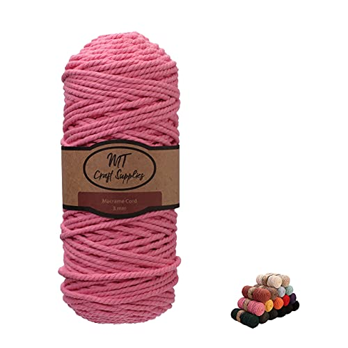 MT Craft Supplies Macrame Cord 3mm x 110 Yard 3 Strand Twisted Soft Natural...
