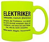 vanVerden Tazza al neon, con scritta 'Wikipedia', Job Motto Beruf, accessori per caffè, stampa su entrambi i lati, idea regalo, colore tazza: giallo neon