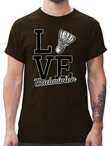 Sonstige Sportarten - Love Badminton - S - Braun - Rundhals - L190 - Tshirt Herren und Männer T-Shirts