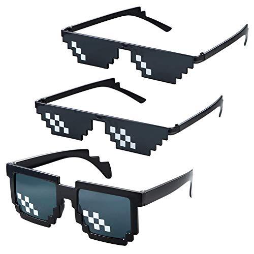 Pixel Sonnenbrille,3er Pack Thug Life Sonnenbrille Mosaik Sonnenbrillen Deal Mosaik-Gläser 8 Bit Style Brille Pixelbrille für Männer Frauen Damen Herren Kinder Party Dekoration Schwarz
