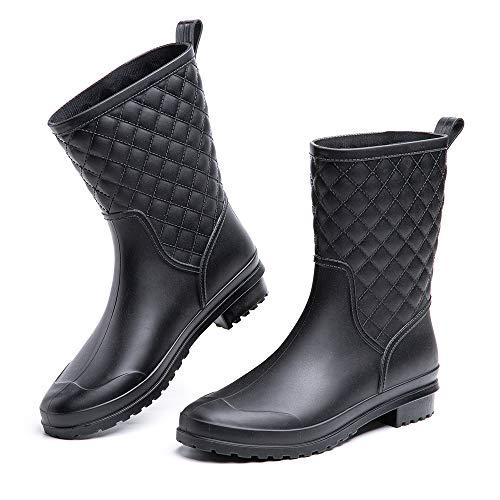Gummistiefel Damen Halbhoch Kurz Chelsea Gummistiefeletten Regenstiefel Kurzschaft Boots Outdoor Gartenschuhe Schwarz Blau Khaki 35-42 EU