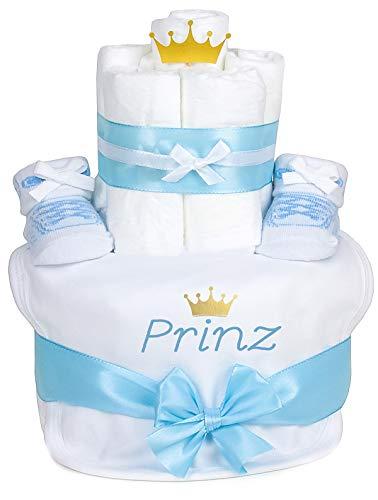 Trend Mama Windeltorte hellblau Junge Babysocken Sneaker Style + bedrucktes Lätzchen - Prinz mit goldener Krone