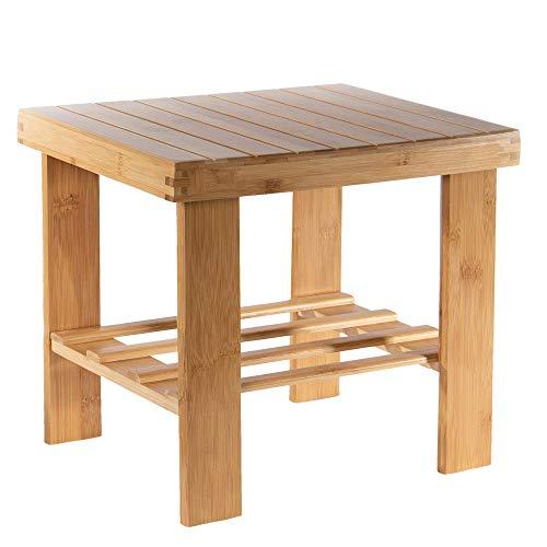 Taburete de baño de bambú | Taburete para adultos | Banco de ducha y asiento pequeño | Sillas de baño y taburetes para sentarse | M&W (pequeño)