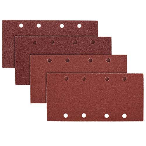 Navaris 25x Klett Schleifpapier rechteckig für Schwingschleifer - 40-100 Körnung 93x187mm Schleifscheiben für Holz Holzwerkstoffe Spanplatte Metall