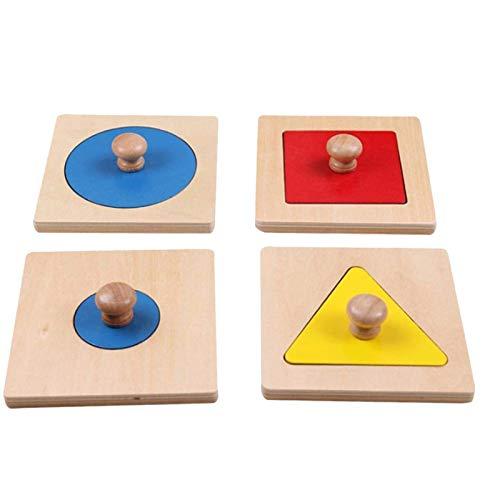 PHLPS Puzzle de Madera para bebés Puzzle de Juguete de 4 Piezas Puzzle geométrico Placa de Clavija Forma geométrica Match Juguete Educativo para niños para niños 2 3 4