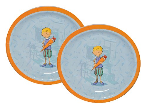 6 tlg. Set Pappteller - Jungen Schulanfang Party Schuleinführung Schule Teller Einweg Kinderparty blau