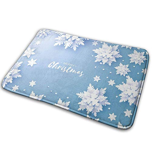wteqofy Bathroom Rugs Bath Mat Door Mats Winter Origami Style Snowflake Memory Foam Front Kitchen Rug Carpet for Kitchen Hall Inside Outdoor 15.7 X 23.5 in
