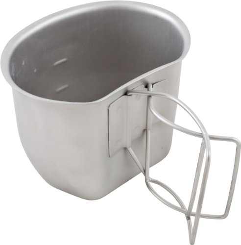 Bushcraft Campingbecher BCB Crusader Cup Canteen, Feldflaschenbecher, kann auch als Kochtopf verwendet Werden Silber