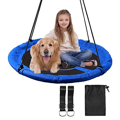 RedSwing 43' Flying Saucer Swing for Kids Outdoor, Large Round Tire Swings for Trees and Swingset, Strong Heavy Duty for Outside Playground, 500LBS Weight Capacity, Blue