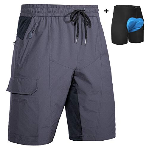 Wespornow Men's-MTB-Mountain-Bike-Cycling-Shorts, Baggy-Breathable-Bike-Shorts with Pockets (Grey with Pad, XXL)