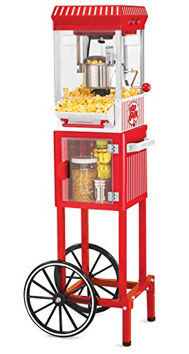 """Nostalgia KPM200CART Vintage 2.5 oz Professional Kettle Popcorn & Concession Cart, 45"""" Tall, Makes 10 Cups of Popcorn, with Kernel Measuring Cup, Oil Measuring Spoon & Metal Scoop,Red"""