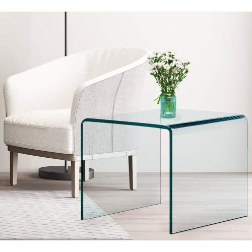 OKAKOPA Clear Glass Side Table, 24.8x18.9 Inch Tempered Glass End Table Small Bent Coffee Table Modern Home Office Furniture 200Lbs Capacity (24.8'x18.9', Transparent)