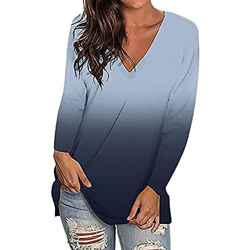 Camisa de manga larga para mujer, elegante, manga larga, cuello en V, holgada, para primavera y otoo, holgada, holgada, informal, cmoda y ligera, A-negro., L