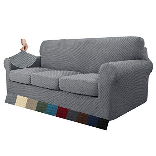 MAXIJIN 4 Piezas más Nuevas Fundas de sofá extragrandes Jacquard para sofá de 3 plazas Antideslizante Funda de sofá para Perros Protector de Muebles (4 plazas, Gris Claro)