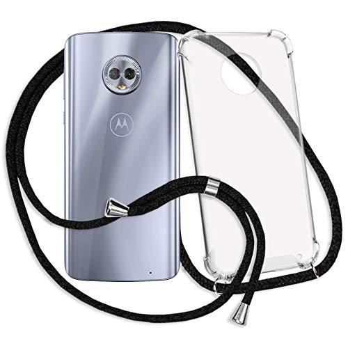 mtb more energy® Handykette kompatibel mit Motorola Moto G6 Plus, G6+ (5.9'') - schwarz - Smartphone Hülle zum Umhängen - Anti Shock Strong TPU Hülle