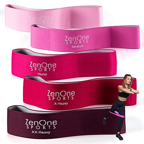 Fitnessbänder Set I 5 Trainingsbänder ZenLoops inkl. Gratis E-Book, Workout-Guide & Tasche I Das Premium Dehnband Resistance Band Set für effektives Training Zuhause (Pink)