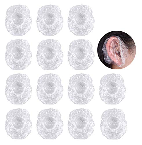 Oído Dubre Ducha,Orejeras 100 Pack Desechables Oído Fundas Transparentes Protector de Oreja Impermeables Cubierta de Oído Plástico Gorro de Oídopara Tinte para Cabello Ducha Baño Spa