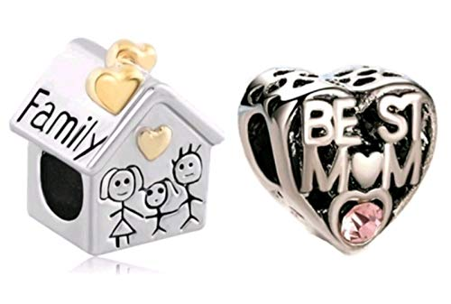 Marni's – Set de 2 Abalorios, 1 de Casa Familiar y 1 de Corazón Mejor Mamá - Cuentas para Pulseras y Collares Estilo Europeo día de la Madre o cumpleaños para Mujeres.