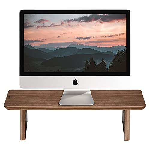 SAMDI Soporte de madera para monitor de ordenador portátil, soporte de pantalla, soporte de madera para portátiles, soporte elevador, soporte para impresora y TV, 48 x 23 x 12 cm (nogal negro, corto)