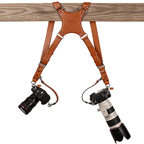 Ledereign India Leather Pro In Style Camera Strap Accessories for 2 Cameras/Dual Shoulder Leather Harness/Multi-Camera Gear for DSLR/SLR (Classic Tan)
