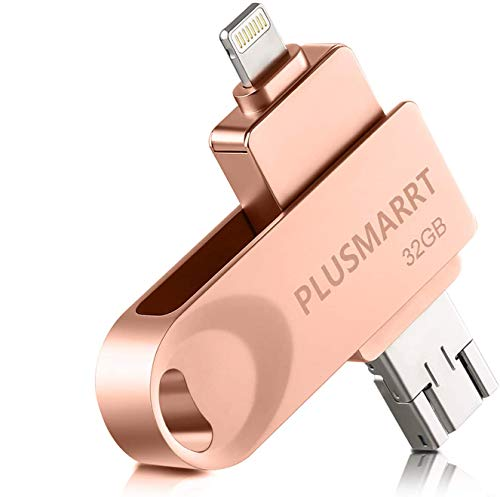 PLUSMARRT Memory Stick for iPhone iPad 32GB USB Stick Flash drive with 3 Ports, External Storage for iPhone, Mac and Computer 32G Rose Gold