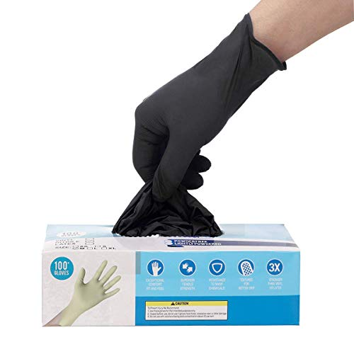 100pcs Disposable Gloves,Shipped from The US and Arrived in 7-10 Days,100pcs,Latex Free,Powder Free,Soft Industrial Gloves,Cleaning Glove for Home Use(Color:Black; Size:L)