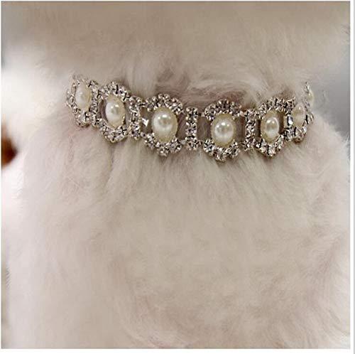 weichuang Collar para mascotas con diamantes de imitación, collar para perros pequeños y medianos, accesorios de Mascotas S, M, L, collar para mascotas (color: blanco, tamaño: S)