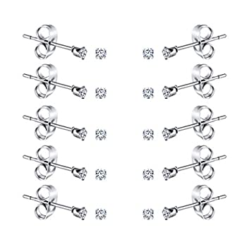 FOSIR 2-4MM Tiny Women s Stainless Steel Round Clear Cubic Zirconia Stud Earrings 10 Pairs