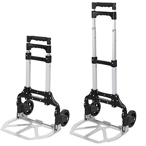 Voluker Carretilla de mano con ruedas de goma,Carretilla plegable aluminio,mango extensible,Carga máxima 100 kg