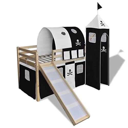 vidaXL Cama Alta Pirata para Niños con Tobogán y Escalera Madera Blanca y Negra