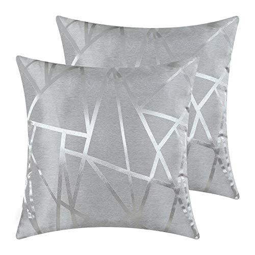 KOMOSO Juego de 2 fundas de cojín para sofá, decoración del hogar, moderna, gris, plateado, 45 x 45 cm