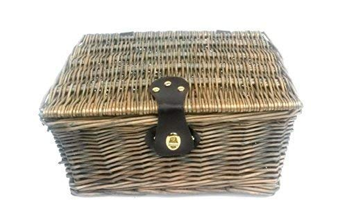 topfurnishing Traditional Wicker Willow Xmas Christmas Picnic Hamper Lidded Gift Empty Storage Box Basket[Oak,Medium 35 x 28 x 18 cm]