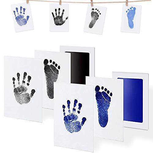 AMAYGA Baby Fußabdruck und Handabdruck,2pcs Farbe Baby Fuß und Handabdruck Set mit Papier-Bilderrahmen,clean touch stempelkissen,Taufe Geschenk für Neugeborene(Schwarz,Blau)