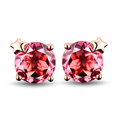 Adisaer Earrings for Women Gold 18K,Earring for Women Fashion Star with 1.56CT Round Cut Pink Tourmaline Rose Gold Earring Women 18K Rose Gold Stud Earrings 1.56 CT Tourmaline