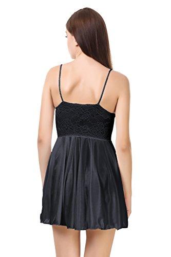 Fire Figure Women's Babydoll Nighty Sleepwear Satin Lingerie Nightwear with Panty/G String (Black)
