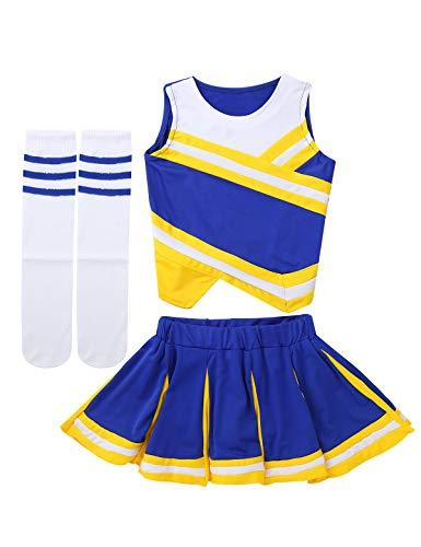 Mufeng Kids Girls Cheer Leader Costume Uniform Cheerleading Dress Outfits Dance Crop Tops with Pleated Skirt Socks Set Yellow&Blue 7-8