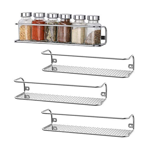 NEX Wall Mounted Spice Rack for Pantry Cabinet Door 4 Pack Spice Seasoning Shelf Chrome