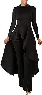 High Low Tops for Women - Asymmetrical Peplum Shirt Long Sleeve Maxi Dresses