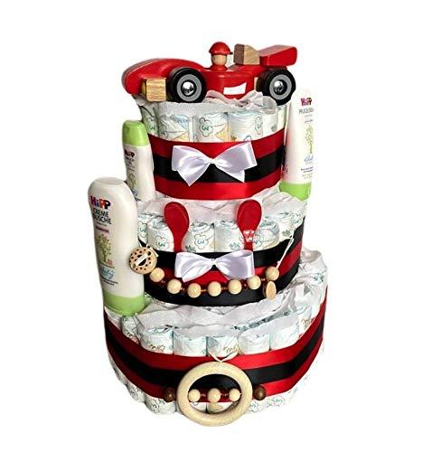 Tarta de pañales mágica – XXL coche de carreras Tarta de pañales para niño en bonitos colores, regalo para baby shower, bautizo, nacimiento, regalo