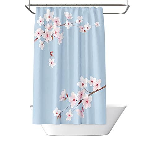 Hylulu Blau Duschvorhänge mit Blumenmuster, Pflaume Bossom-Motiv Wasserdicht Badevorhang mit 12 Plastik Haken Stoff Duschvorhänge 100 * 180cm