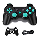 PS3 Controller Wireless, PS3 Joystick, PS3 Remote, Wireless PS3 Controller Double Shock Gamepad Compatible for Playstation 3, Coming with Skin Cover,Thumb Grips and Mini USB Cable(Black)