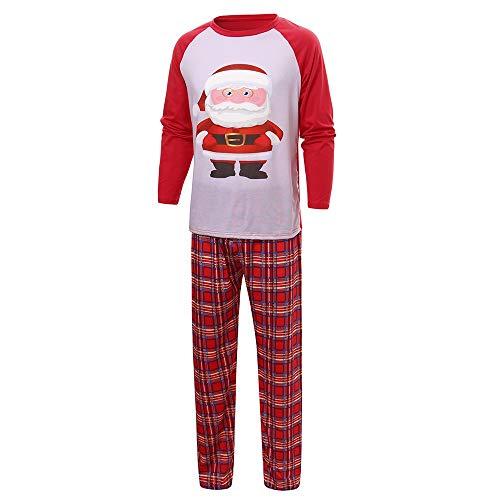 OverDose Damen Weihnachtsmann Tops Bluse Hosen Familie Parenting Pyjamas Nachtwäsche Weihnachten weiche Überraschung Outfits Set Anzug für Winter Herbst(Männer,38 DE/L CN )