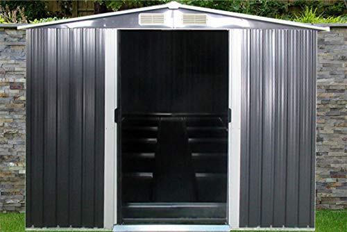 dirty pro tools GREY METAL GARDEN SHED Width 236 x Depth 174 cms WITH BASE